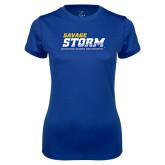 Ladies Syntrel Performance Royal Tee-Savage Storm Word Mark