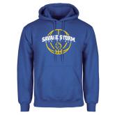 Royal Fleece Hoodie-Savage Storm Basketball Arched