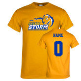 Gold T Shirt-New Primary Logo, Custom Tee w/ Name and #