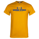 Gold T Shirt-Savage Storm Football Flat with Ball