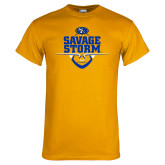 Gold T Shirt-Savage Storm Football Stacked