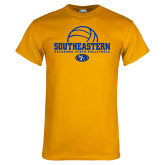 Gold T Shirt-Southeastern Volleyball with Ball