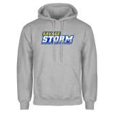 Grey Fleece Hoodie-Savage Storm Word Mark