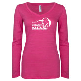 ENZA Ladies Hot Pink Long Sleeve V Neck Tee-New Primary Logo