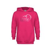 Youth Raspberry Fleece Hoodie-New Primary Logo Foil