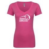 Next Level Ladies Junior Fit Ideal V Pink Tee-New Primary Logo