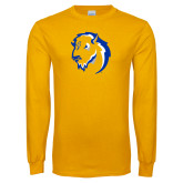 Gold Long Sleeve T Shirt-Mascot Head
