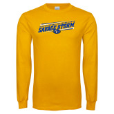 Gold Long Sleeve T Shirt-Slanted Savage Storm Lines