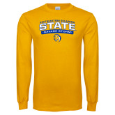 Gold Long Sleeve T Shirt-Southeastern Oklahoma State Arched Stacked