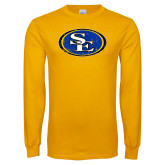 Gold Long Sleeve T Shirt-SE Primary Logo Distressed