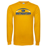 Gold Long Sleeve T Shirt-Southeastern Football with Ball