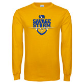 Gold Long Sleeve T Shirt-Savage Storm Football Stacked