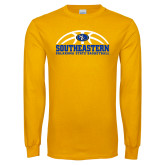 Gold Long Sleeve T Shirt-Southeastern Basketball with Ball
