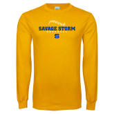 Gold Long Sleeve T Shirt-Savage Storm Baseball Seams