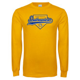 Gold Long Sleeve T Shirt-Southeastern Softball Script
