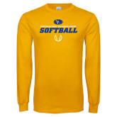 Gold Long Sleeve T Shirt-Savage Storm Softball Icon