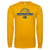 Gold Long Sleeve T Shirt-Southeastern Volleyball with Ball