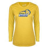 Ladies Syntrel Performance Gold Longsleeve Shirt-New Primary Logo