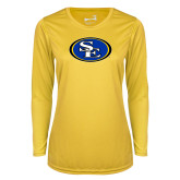 Ladies Syntrel Performance Gold Longsleeve Shirt-SE Primary Logo