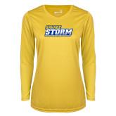 Ladies Syntrel Performance Gold Longsleeve Shirt-Savage Storm Word Mark