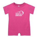 Bubble Gum Pink Infant Romper-New Primary Logo