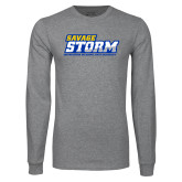 Grey Long Sleeve T Shirt-Savage Storm Word Mark