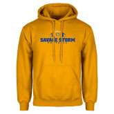 Gold Fleece Hoodie-Savage Storm Football Flat with Ball