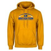 Gold Fleece Hoodie-Southeastern Football with Ball