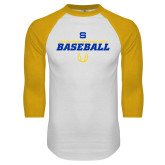 White/Gold Raglan Baseball T Shirt-Savage Storm Baseball Icon