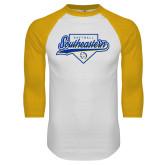 White/Gold Raglan Baseball T Shirt-Southeastern Softball Script