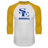 White/Gold Raglan Baseball T Shirt-SE Baseball