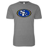 Next Level SoftStyle Heather Grey T Shirt-SE Primary Logo