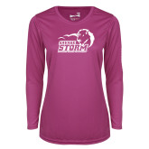 Ladies Syntrel Performance Raspberry Longsleeve Shirt-New Primary Logo