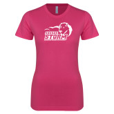 Ladies SoftStyle Junior Fitted Fuchsia Tee-New Primary Logo