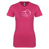 Ladies SoftStyle Junior Fitted Fuchsia Tee-New Primary Logo Foil