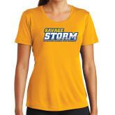 Ladies Syntrel Performance Gold Tee-Savage Storm Word Mark