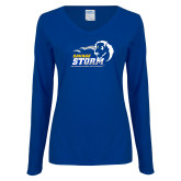 Ladies Royal Long Sleeve V Neck Tee-New Primary Logo