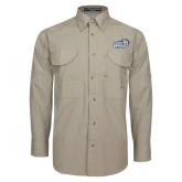 Khaki Long Sleeve Performance Fishing Shirt-New Primary Logo Embroidery