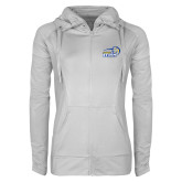 Ladies Sport Wick Stretch Full Zip White Jacket-New Primary Logo Embroidery