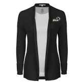 Ladies Black Open Front Cardigan-New Primary Logo Embroidery