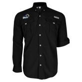 Columbia Bahama II Black Long Sleeve Shirt-New Primary Logo Embroidery