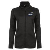 Black Heather Ladies Fleece Jacket-New Primary Logo Embroidery