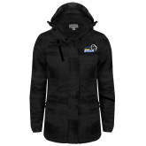 Ladies Black Brushstroke Print Insulated Jacket-New Primary Logo Embroidery