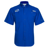 Columbia Tamiami Performance Royal Short Sleeve Shirt-New Primary Logo Embroidery