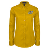 Ladies Gold Twill Button Down Long Sleeve-New Primary Logo Embroidery