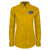 Ladies Gold Twill Button Down Long Sleeve-SE Primary Logo