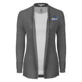 Ladies Heather Grey Open Front Cardigan-New Primary Logo Embroidery