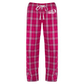 Ladies Dark Fuchsia/White Flannel Pajama Pant-New Primary Logo Embroidery