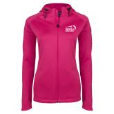 Ladies Tech Fleece Full Zip Hot Pink Hooded Jacket-New Primary Logo Embroidery
