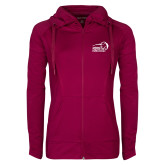 Ladies Sport Wick Stretch Full Zip Deep Berry Jacket-New Primary Logo Embroidery